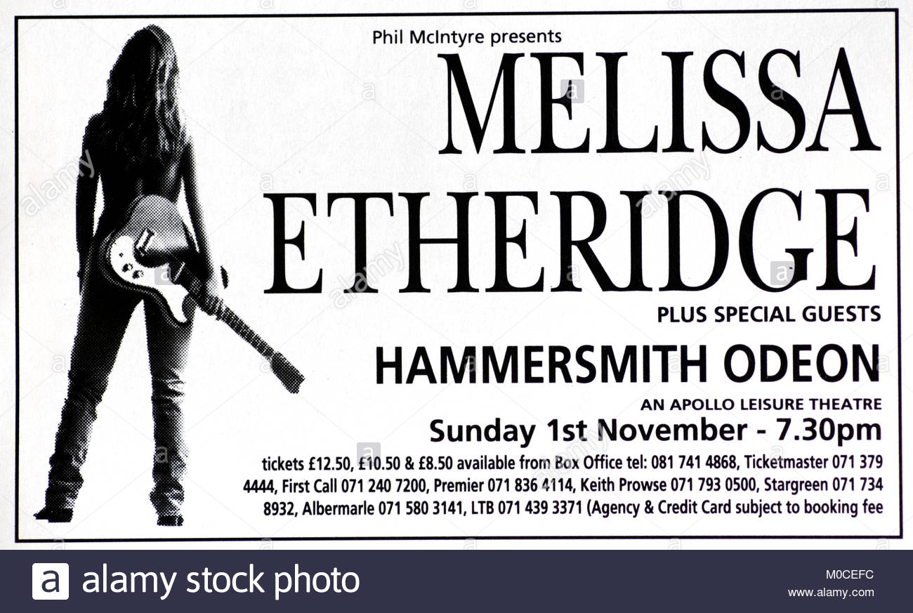 Magazine advert with UK tour dates for Melissa Etheridge 1992 - Stock Image