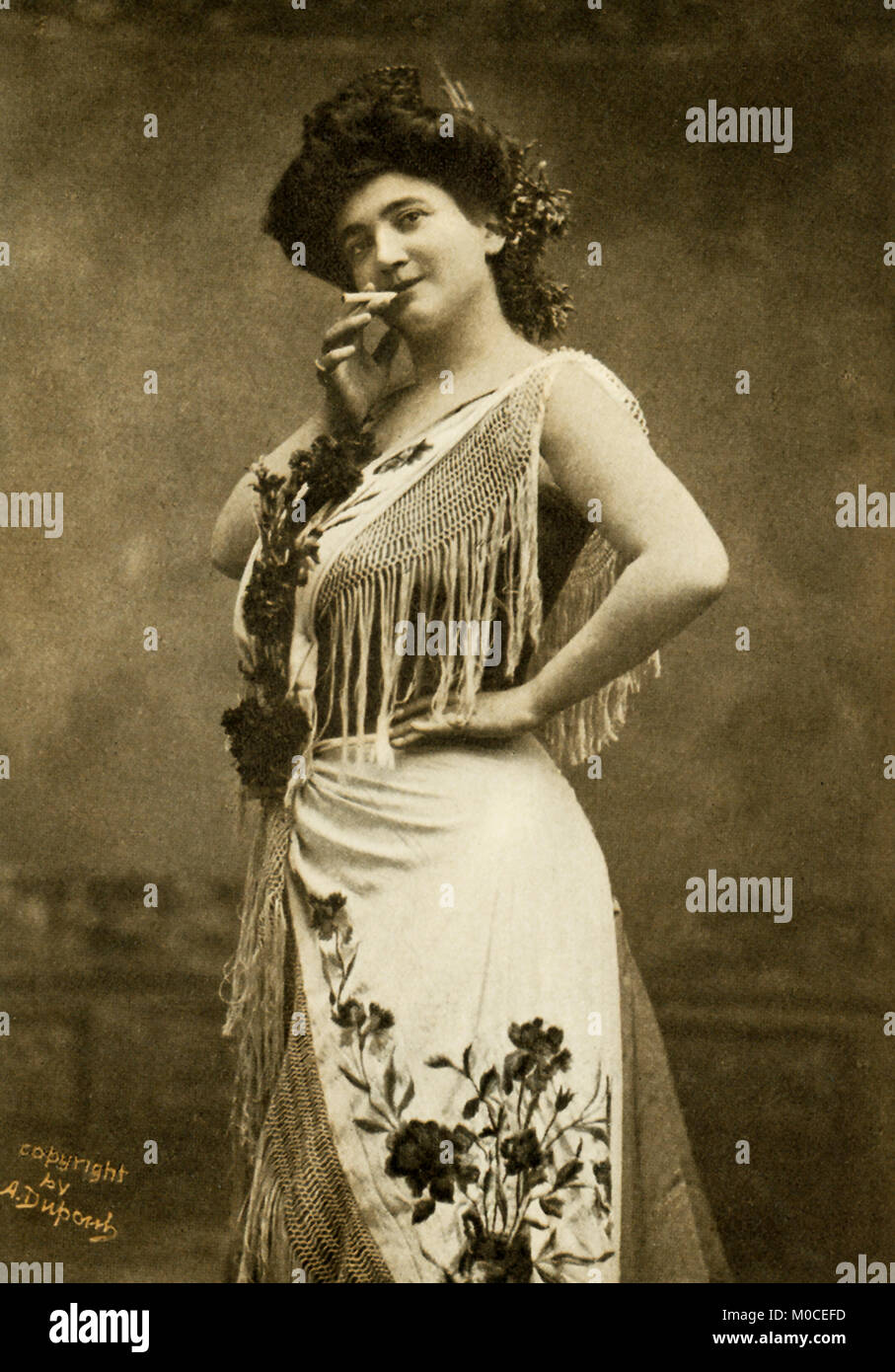 This photo shows the opera singer Emma Calve in the title role of Bizet's Carmen. She was born in 1866 in Decazeville, - Stock Image