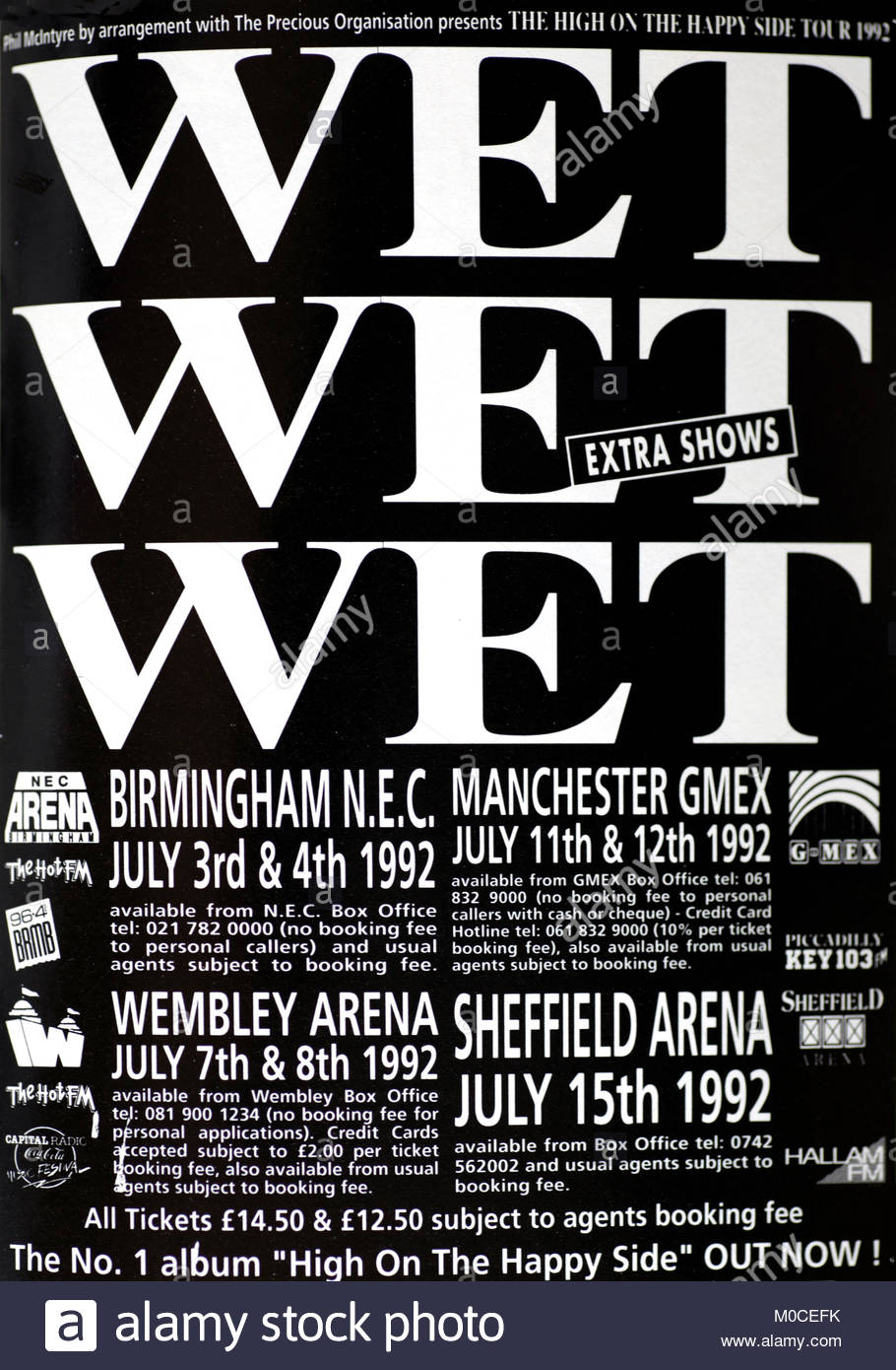 Magazine advert with UK tour dates for  Wet Wet Wet 1992 - Stock Image