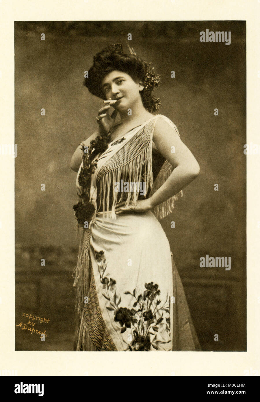 This photo shows the opera singer Emma Calve in the title role of Bizet's Carmen. She was born in 1866 in Decazeville, Stock Photo