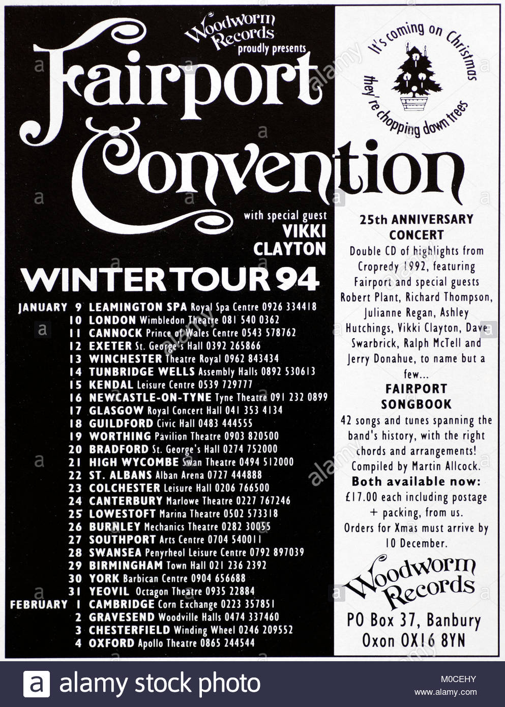 Magazine advert with UK tour dates for Fairport Convention 1994 - Stock Image