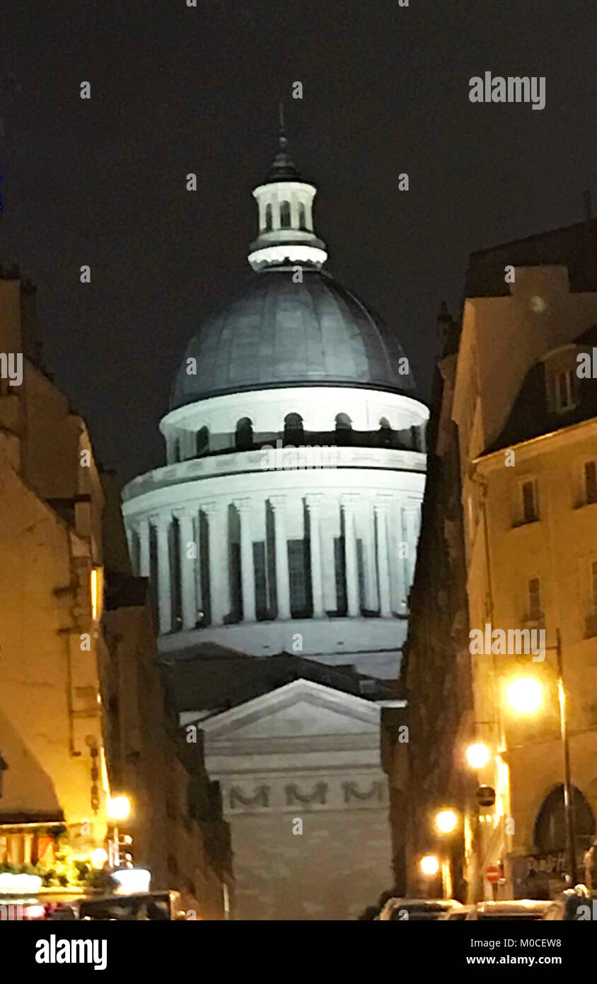 This photo of the Pantheon at night in Paris was taken in December of 2017. The Pantheon is in the Latin Quarter - Stock Image