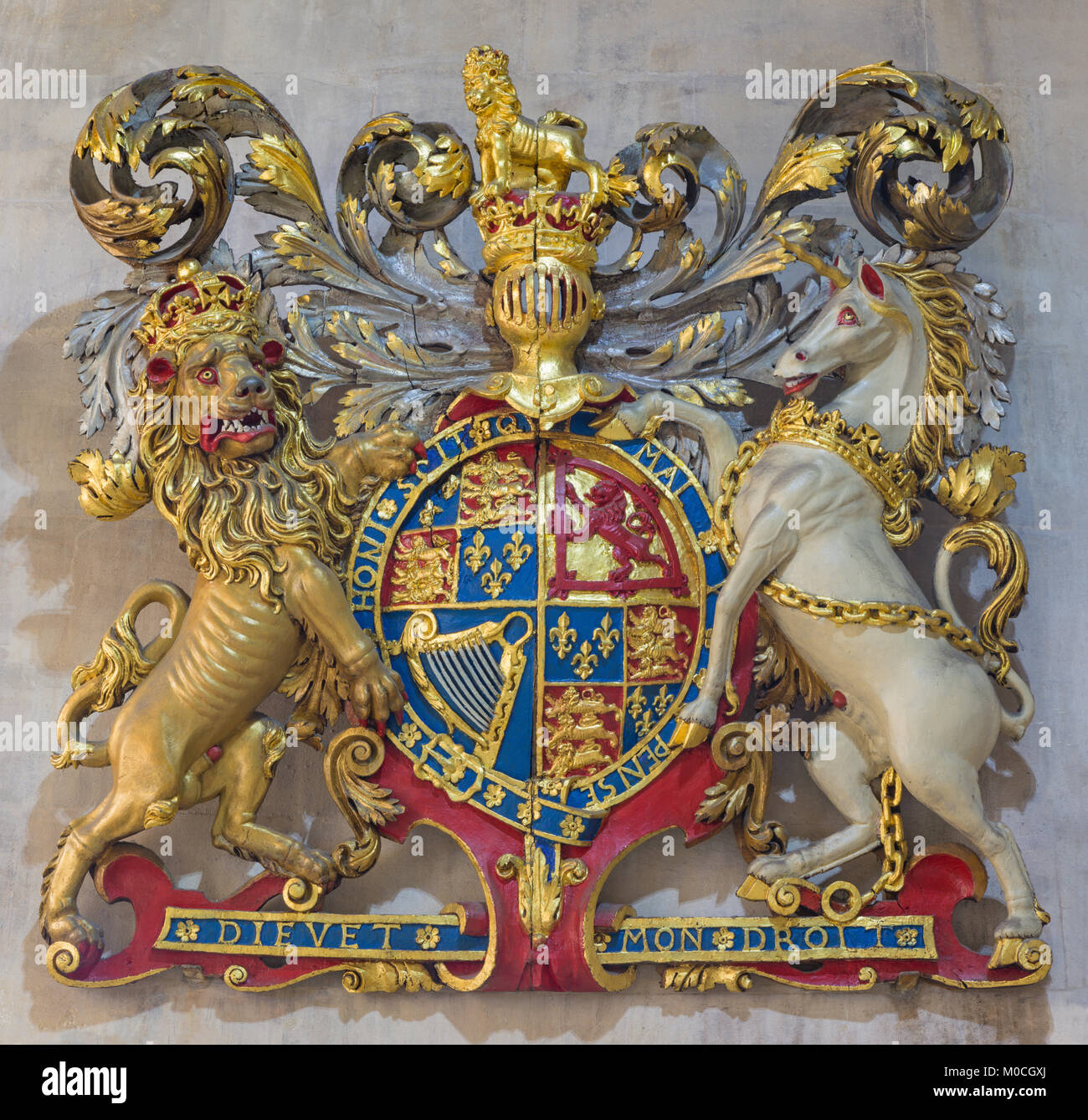 LONDON, GREAT BRITAIN - SEPTEMBER 14, 2017: The relief of England royal arms in church St Clement's, Eastcheap. - Stock Image
