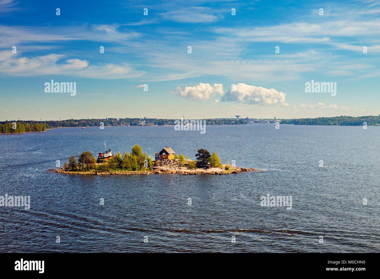An island in the sea near Helsinki, Finland. Stock Photo