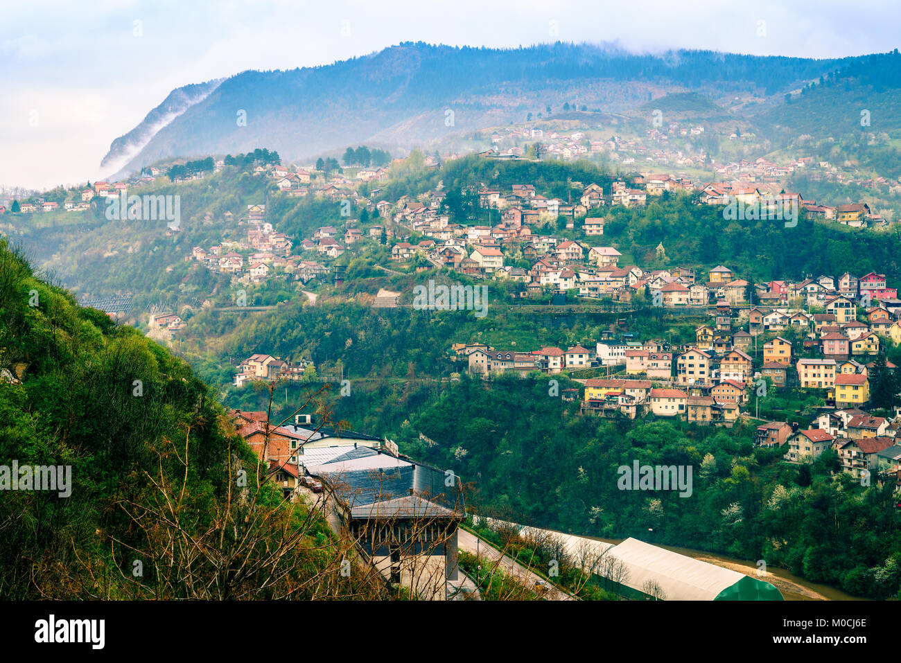 Scenic view of the city of Sarajevo, Bosnia - Stock Image