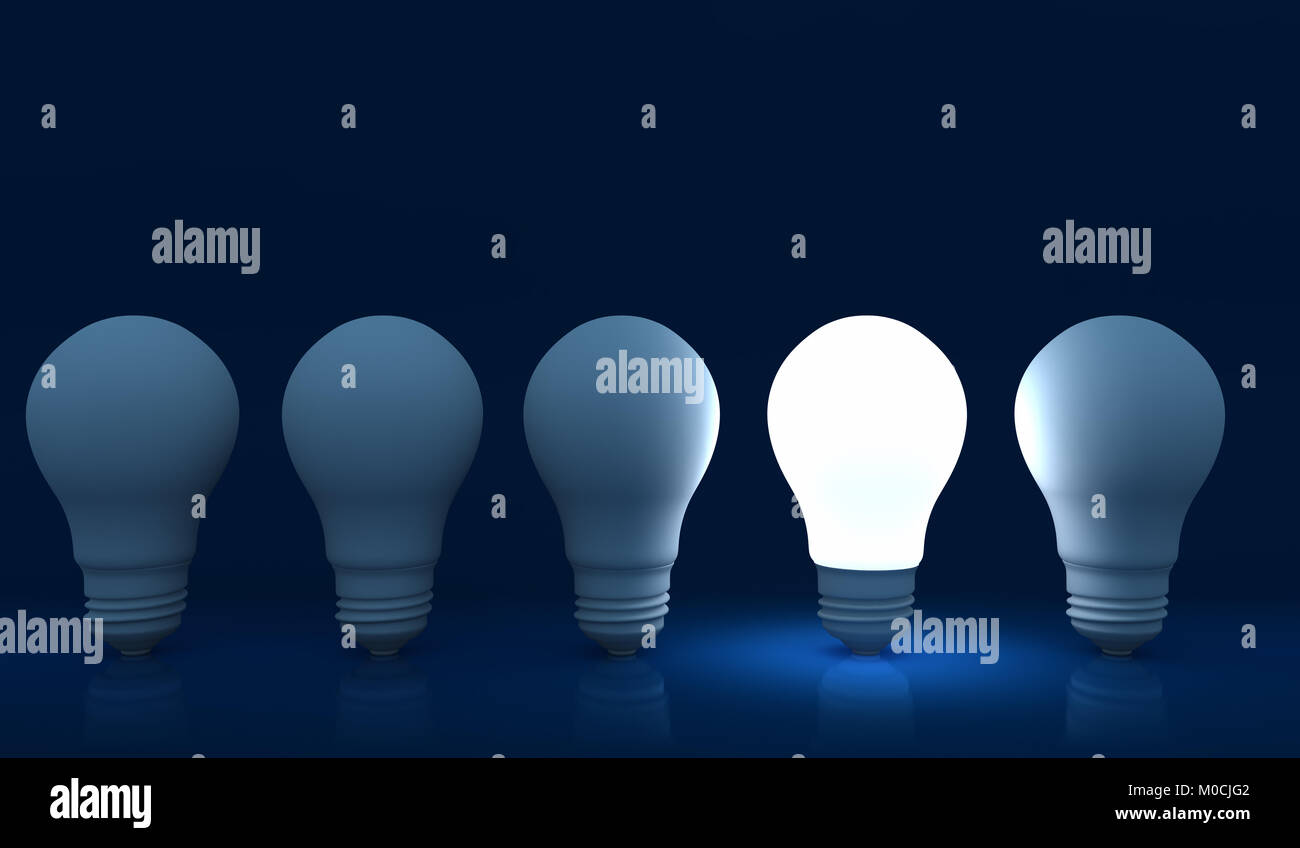 Illuminated light bulb in a row of dim ones concept for creativity, innovation and solution. 3D illustration - Stock Image