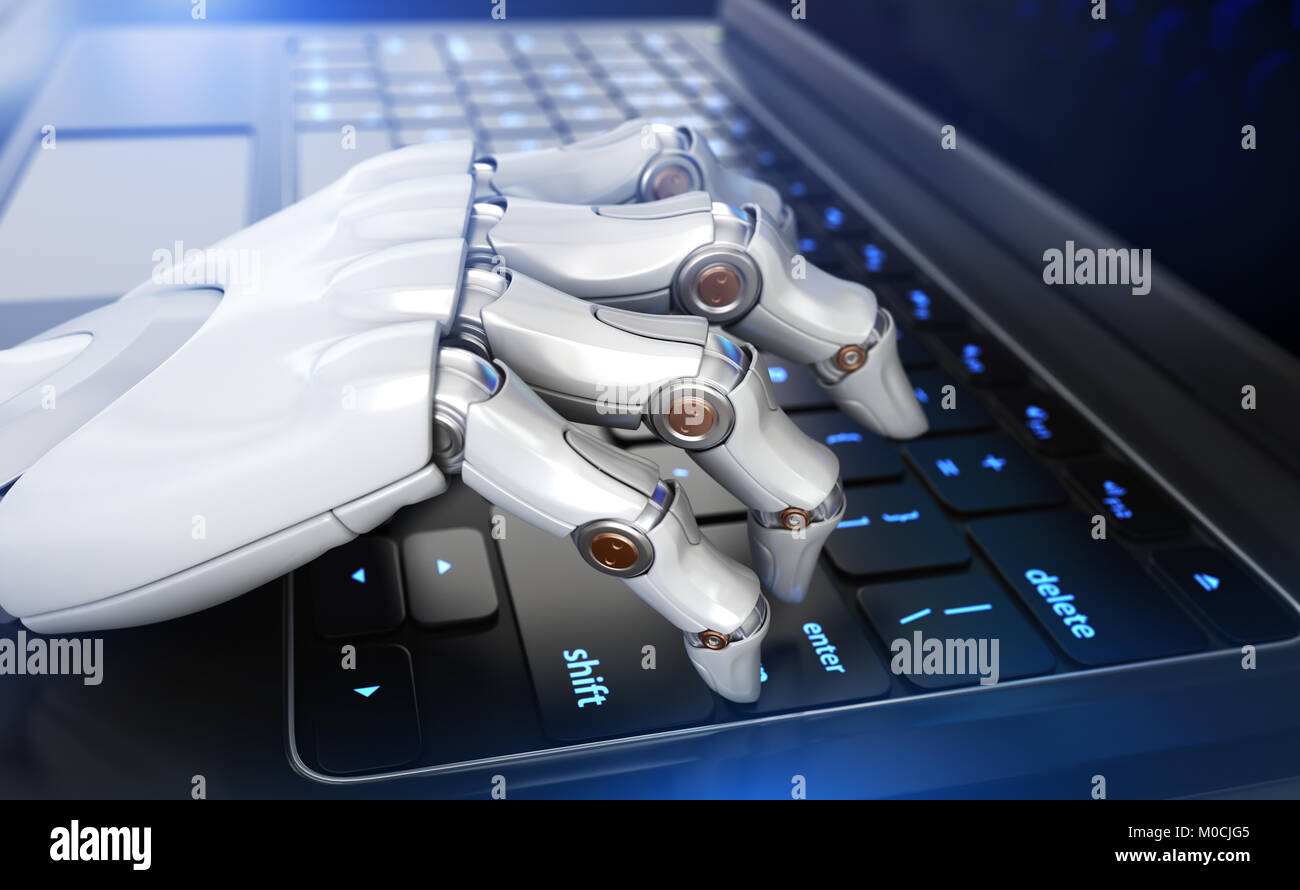Robot's hand typing on keyboard. 3D illustration - Stock Image
