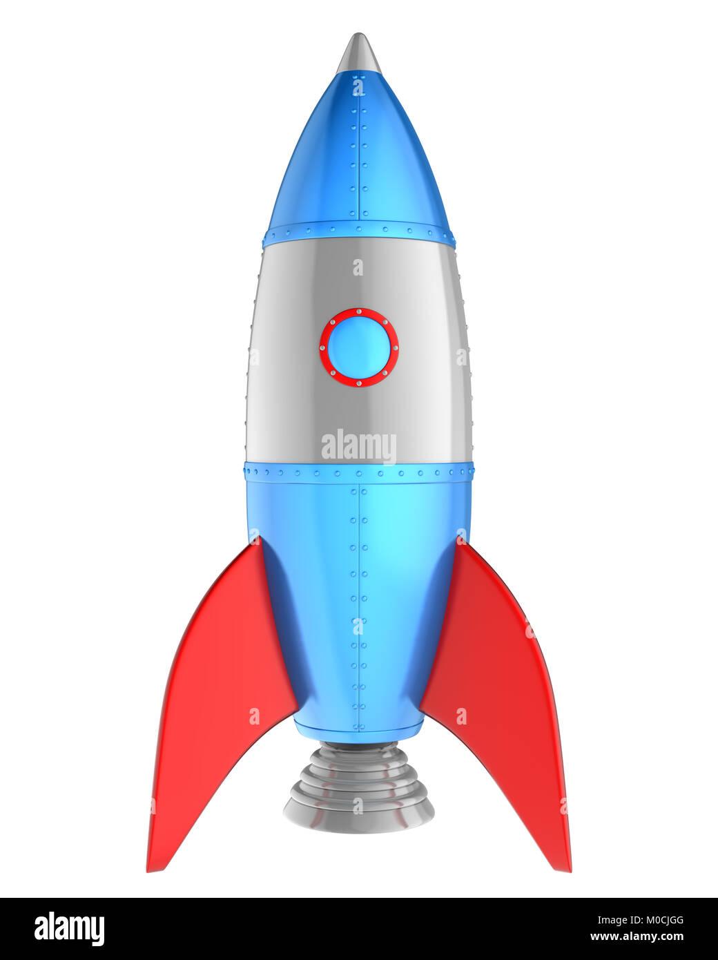 Cartoon rocket isolated on white. 3D illustration - Stock Image