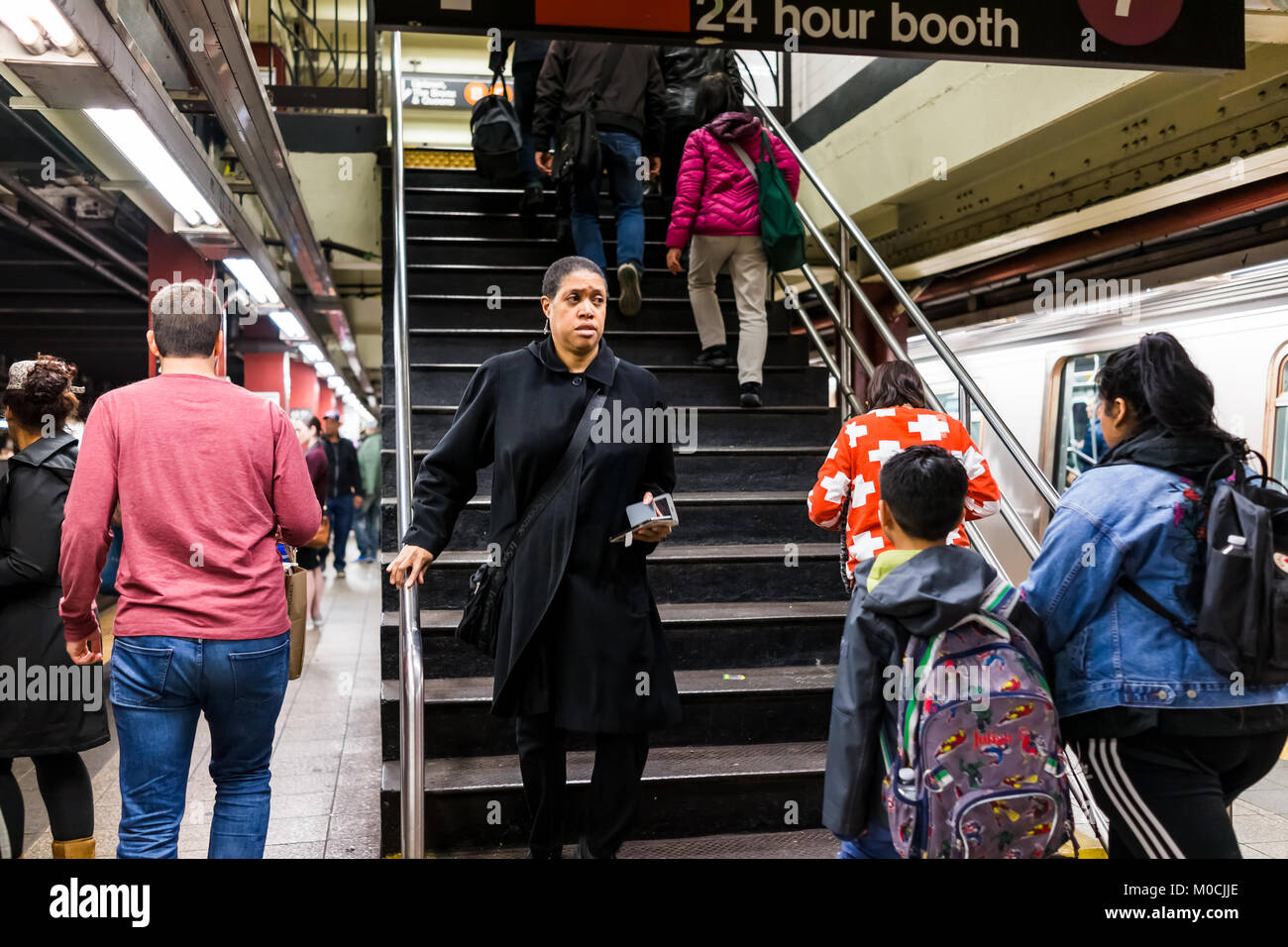 New York City, USA - October 27, 2017: People in underground platform transit in NYC Subway Station after work on - Stock Image