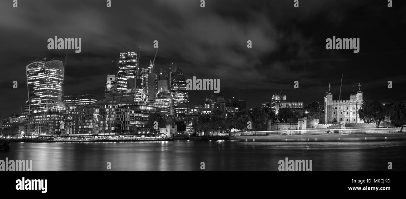 London - The panorama of skyscrapers of financial district with the Tower. - Stock Image