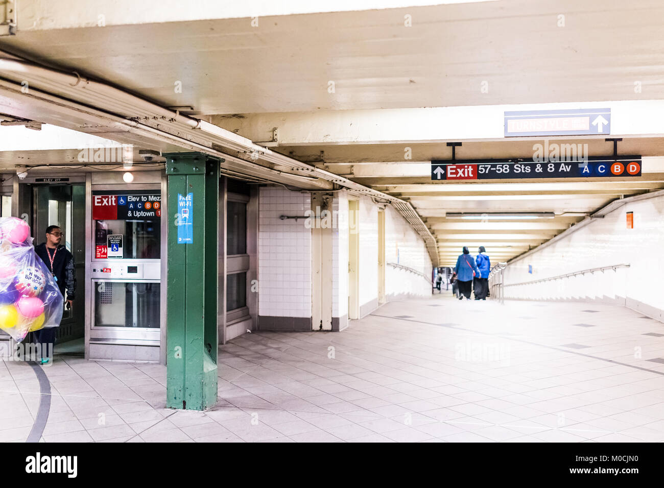 New York City, USA - October 28, 2017: People in underground platform transit, transfer in NYC Subway Station on - Stock Image
