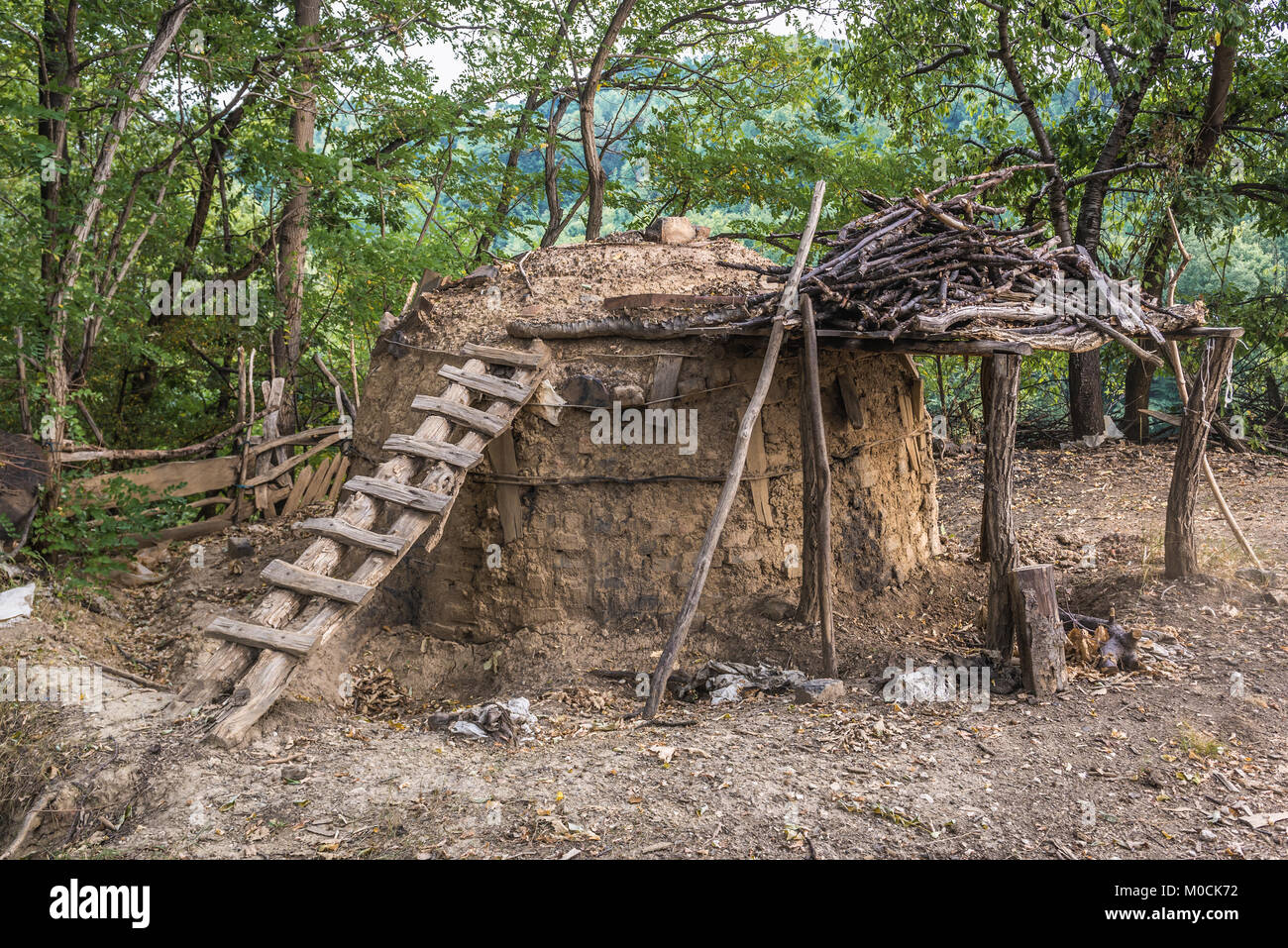 Traditional charcoal retort in Lucani municipality, Moravica District of Serbia - Stock Image