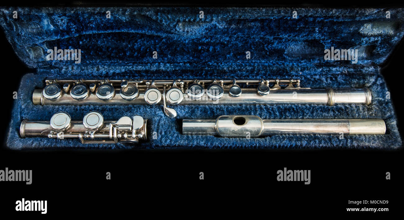 Disassembled traverse flute in its case - Stock Image