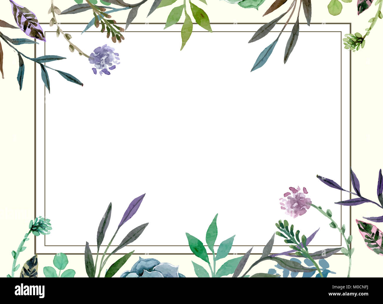 wedding invitation card template with floral pattern border stock