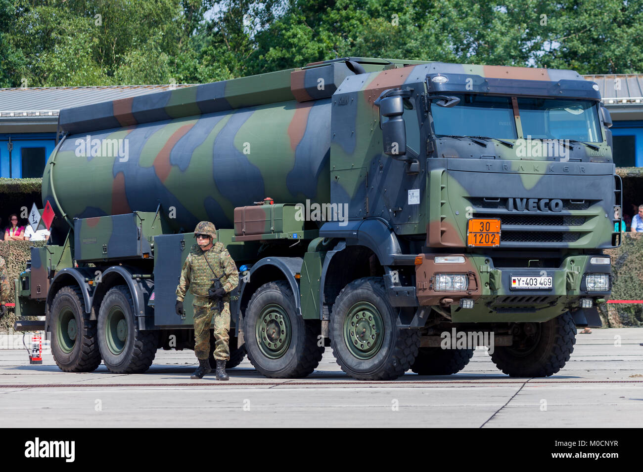 BURG / GERMANY - JUNE 25, 2016: german military Iveco 8x8 tanker at open day in barrack burg - Stock Image