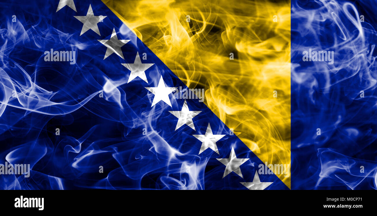 Bosnia and Herzegovina smoke flag - Stock Image