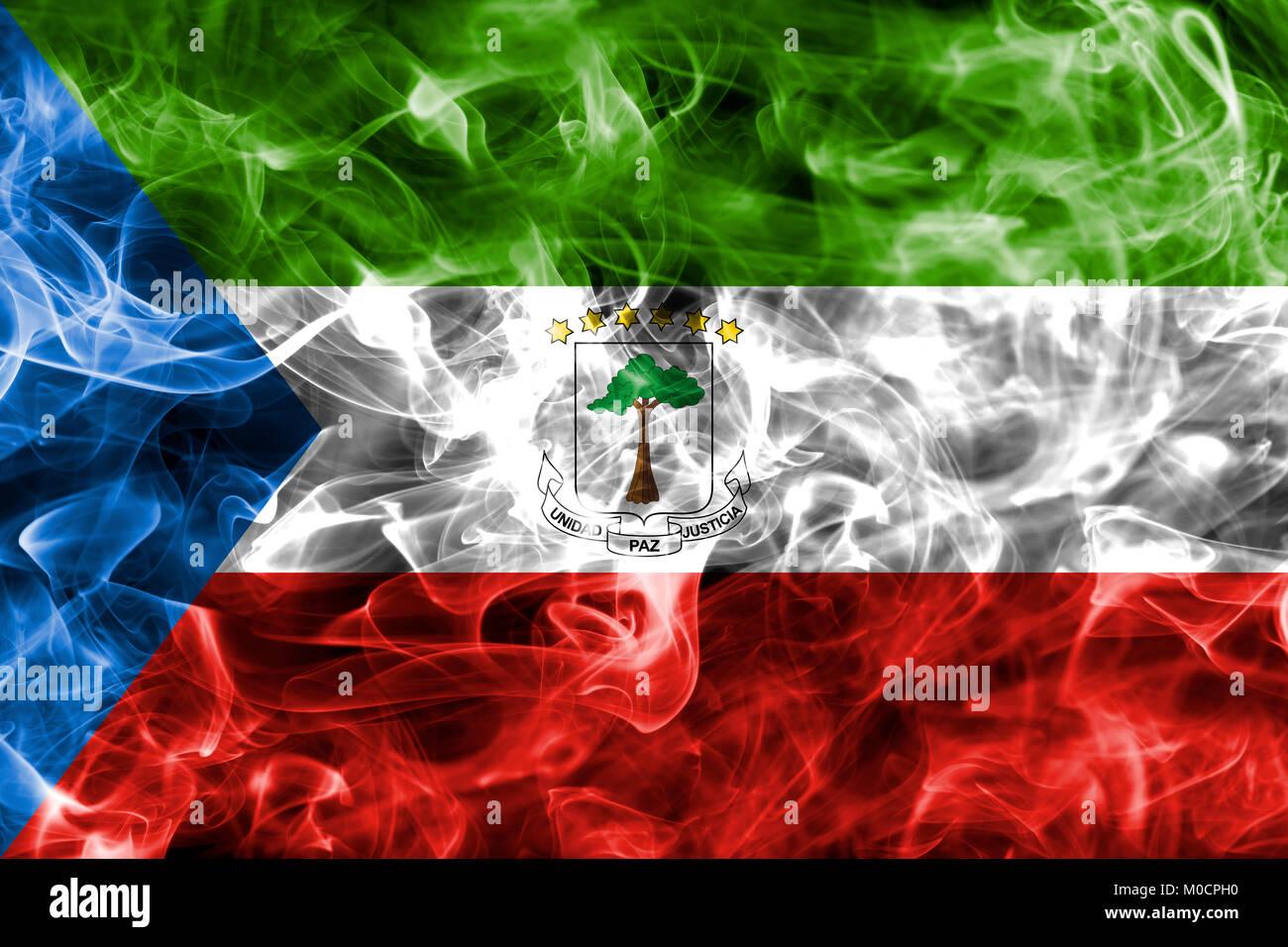 Equatorial Guinea smoke flag - Stock Image