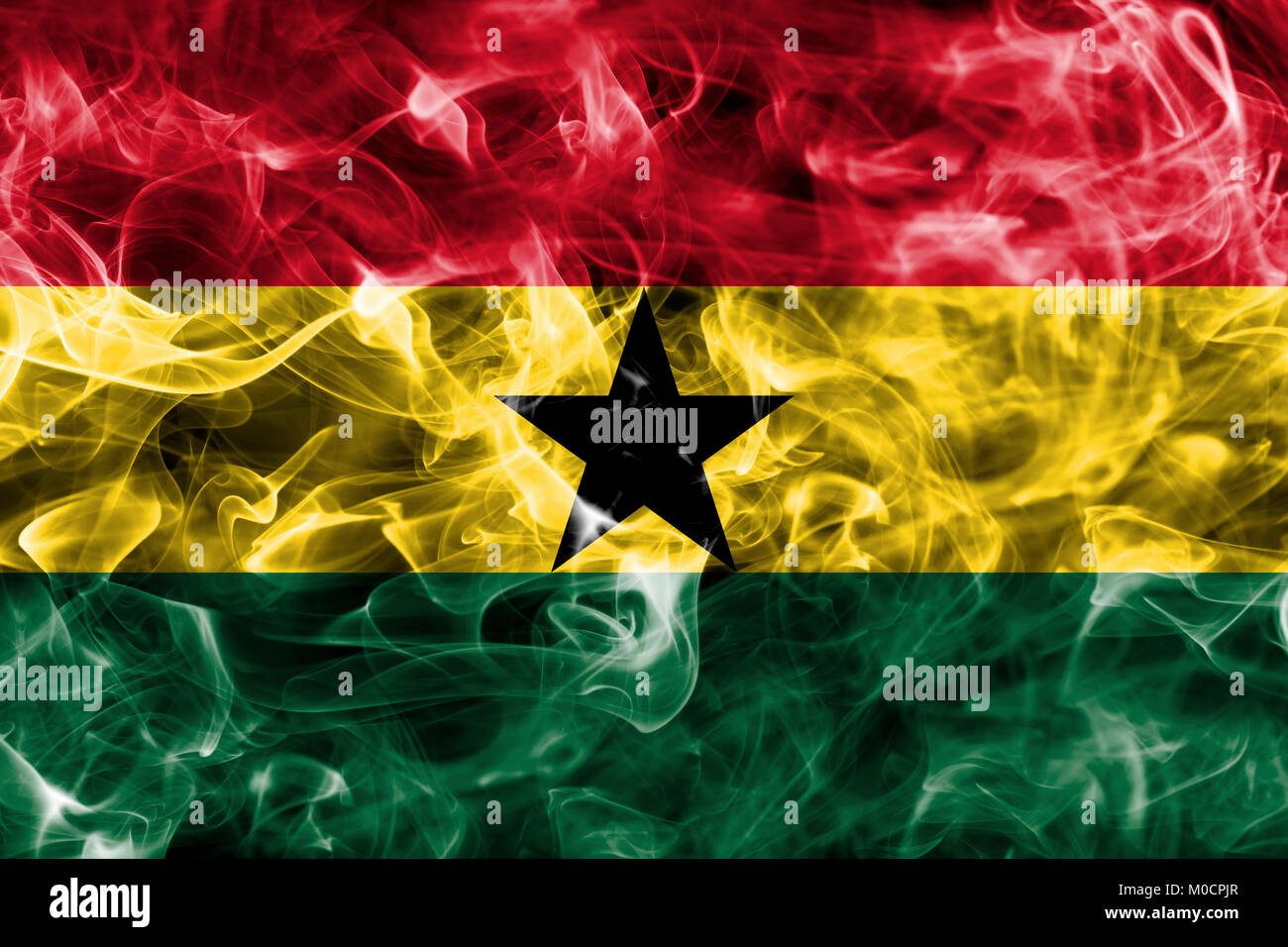 Ghana smoke flag - Stock Image