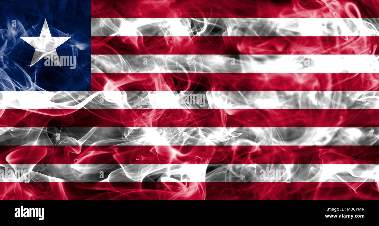 Liberia smoke flag - Stock Image