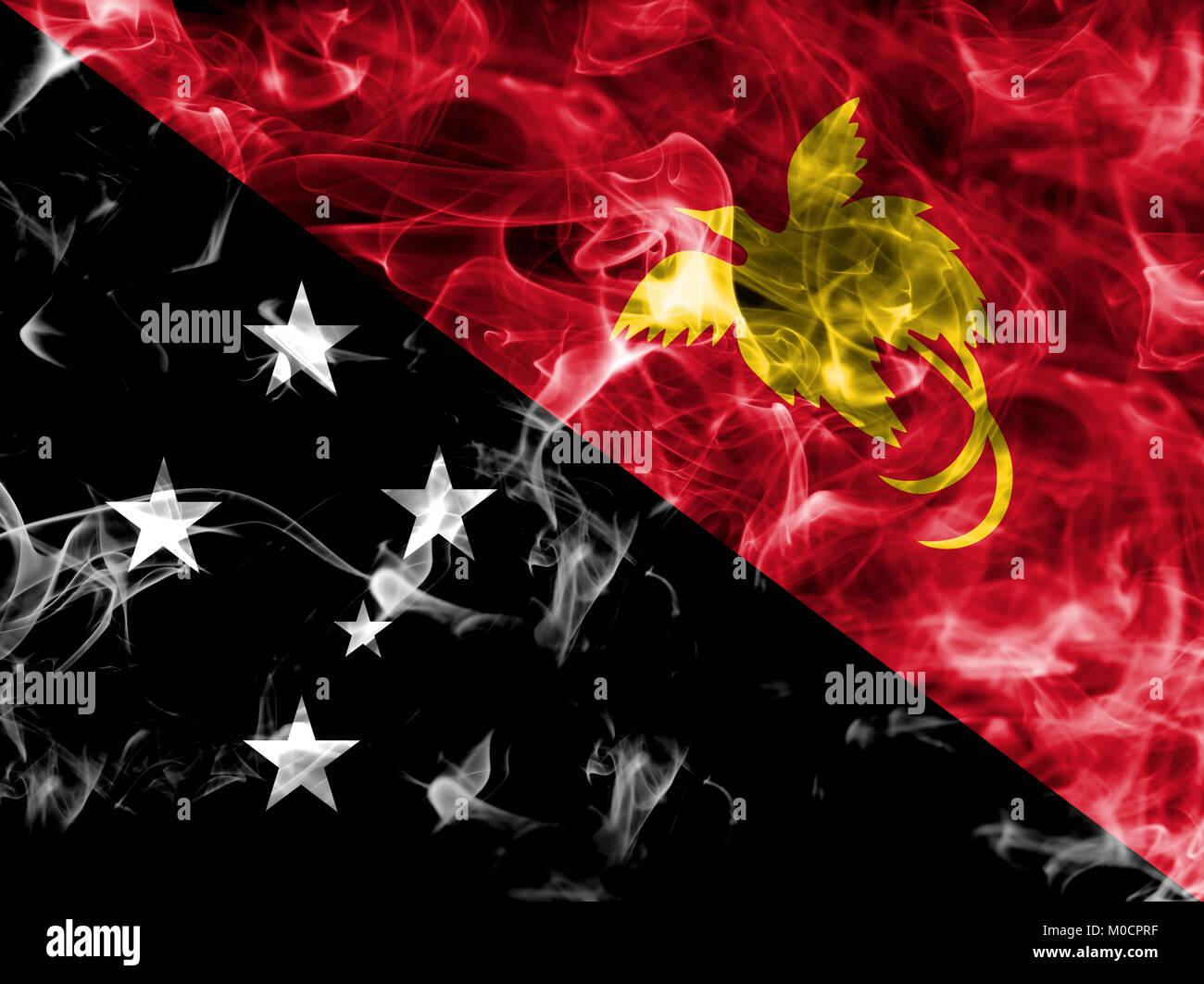 Papua New Guinea smoke flag - Stock Image
