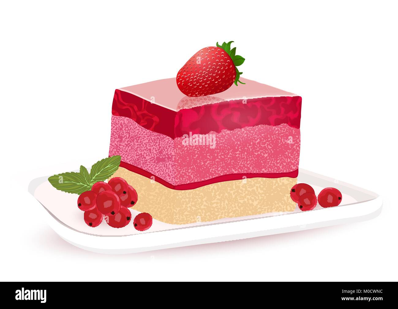 Cartoon Jelly Cake Recipe: Cake With Berry Jelly, Vector Drawing, Painted Dessert. A