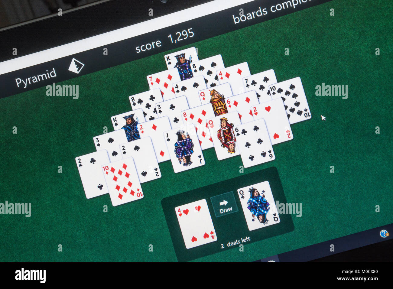 Computer screenshot of Microsoft solitaire game collection - pyramid game in progress - Stock Image