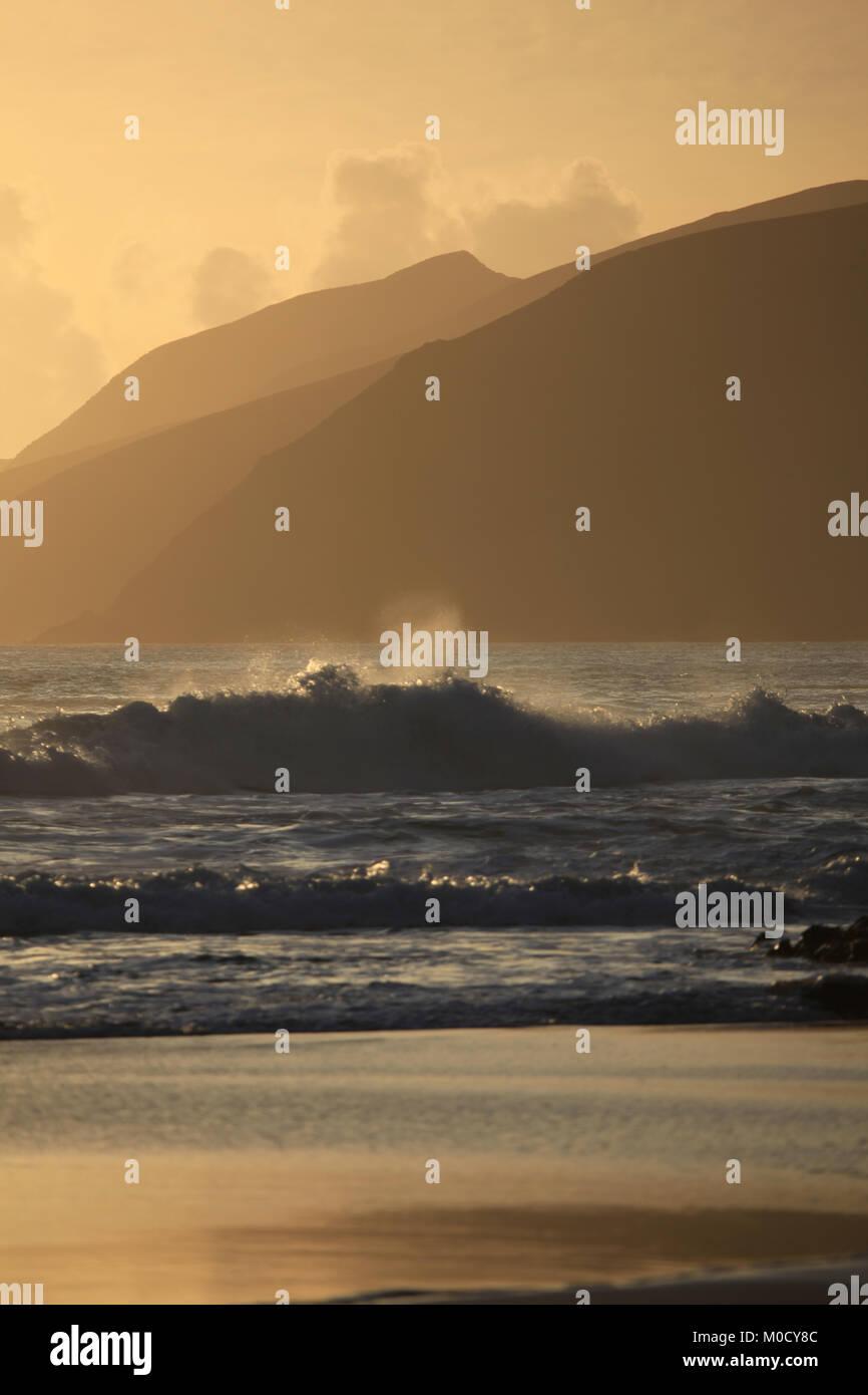 storm atlantic waves crashing onto the irish coast, wild atlantic way, ireland - Stock Image