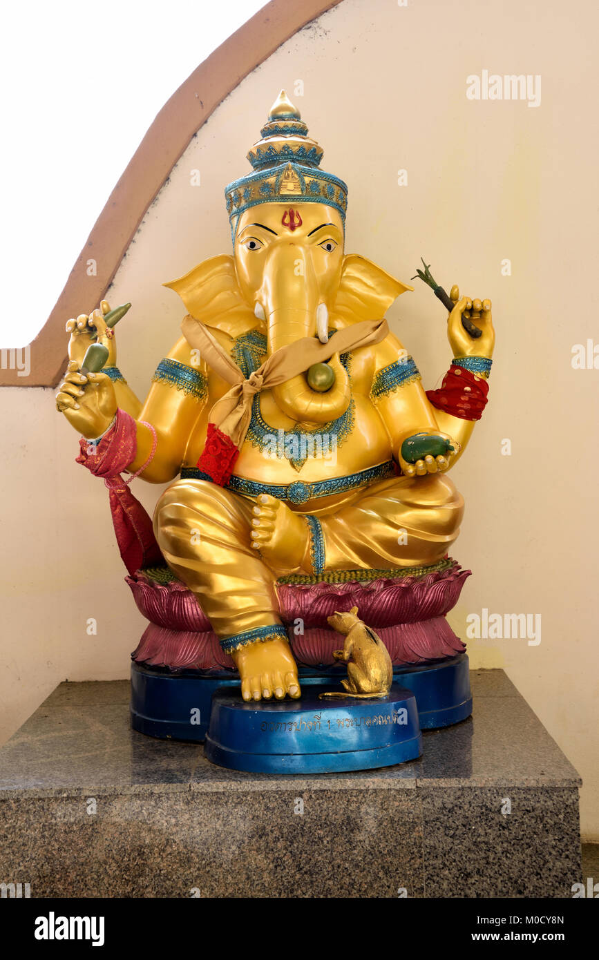 This is Number 1 of 32 miniature Ganesh statues in the circular hall under the large pink elephant building of Wat Stock Photo