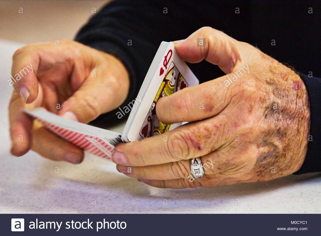 Card shuffling - Stock Image