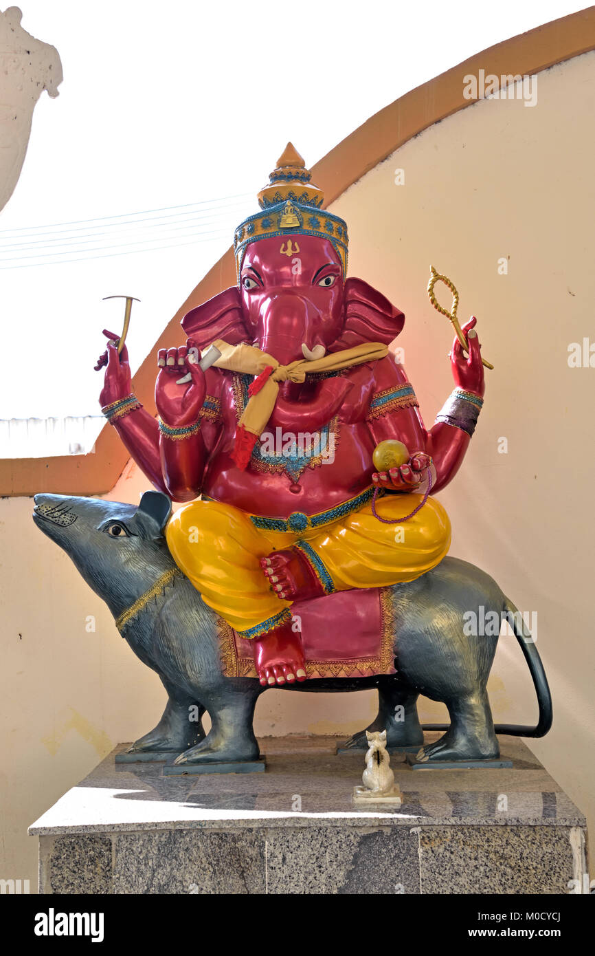 This is Number 13 of 32 miniature Ganesh statues in the circular hall under the large pink elephant building of Stock Photo