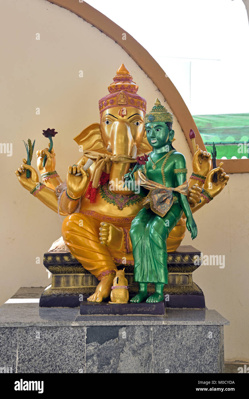 This is Number 16 of 32 miniature Ganesh statues in the circular hall under the large pink elephant building of - Stock Image