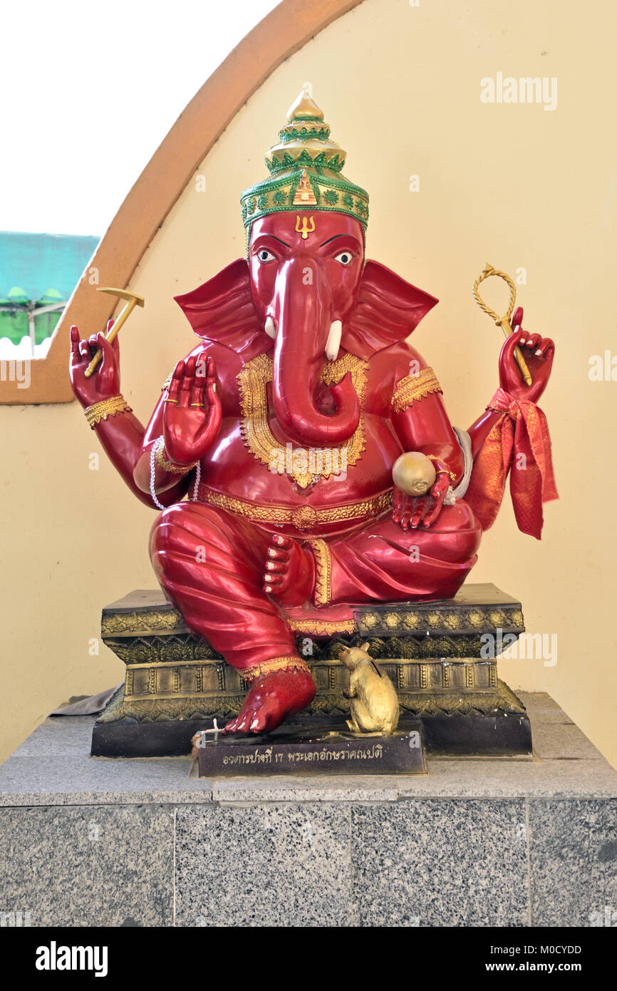 This is Number 17 of 32 miniature Ganesh statues in the circular hall under the large pink elephant building of - Stock Image