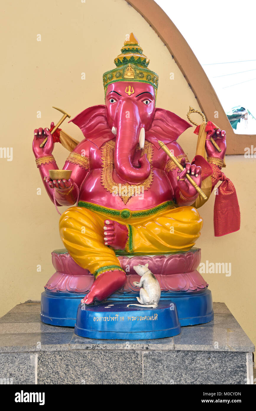 This is Number 18 of 32 miniature Ganesh statues in the circular hall under the large pink elephant building of - Stock Image