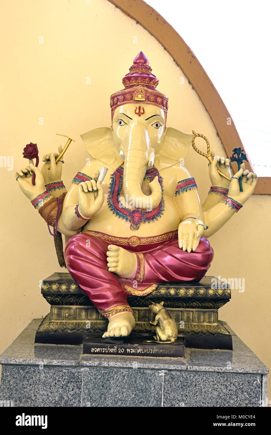 This is Number 20 of 32 miniature Ganesh statues in the circular hall under the large pink elephant building of Stock Photo