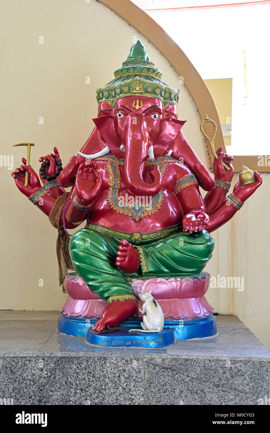 This is Number 28 of 32 miniature Ganesh statues in the circular hall under the large pink elephant building of - Stock Image