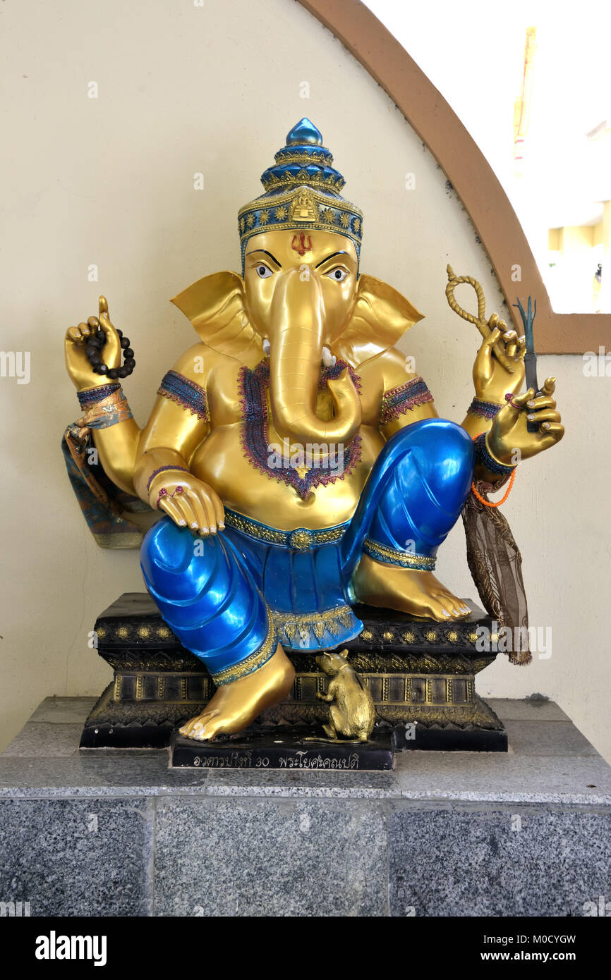 This is Number 30 of 32 miniature Ganesh statues in the circular hall under the large pink elephant building of - Stock Image