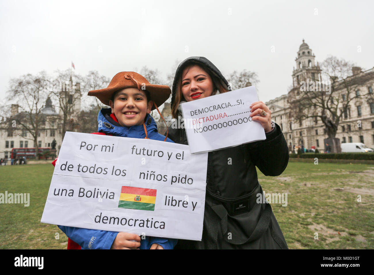 London, UK. 20th Jan, 2018. Bolivian protestors in Parliament Square, Westminster, make their voices heard rejecting - Stock Image