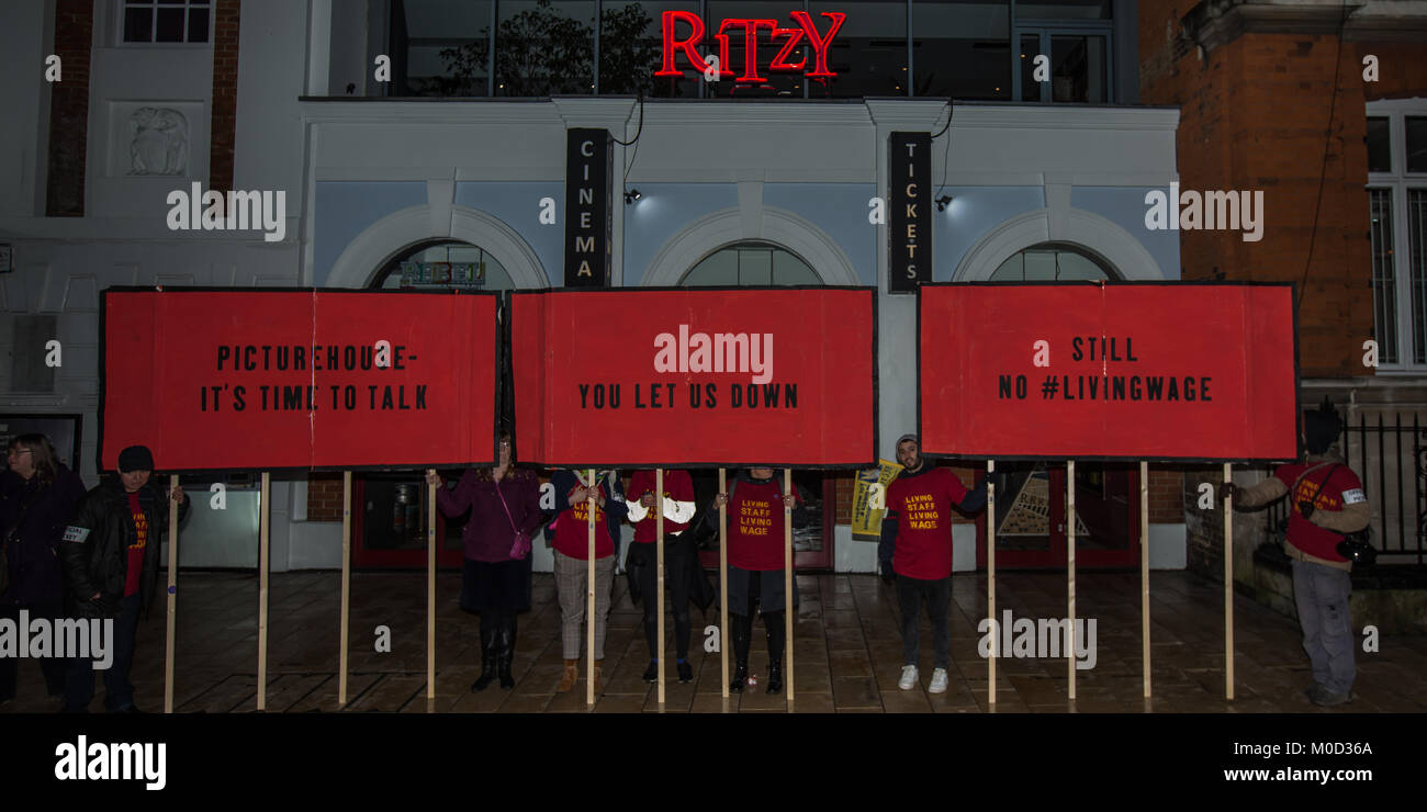 London, UK.20 January 2018. In the long running industrial dispute, striking staff at the Ritzy cinema, members - Stock Image