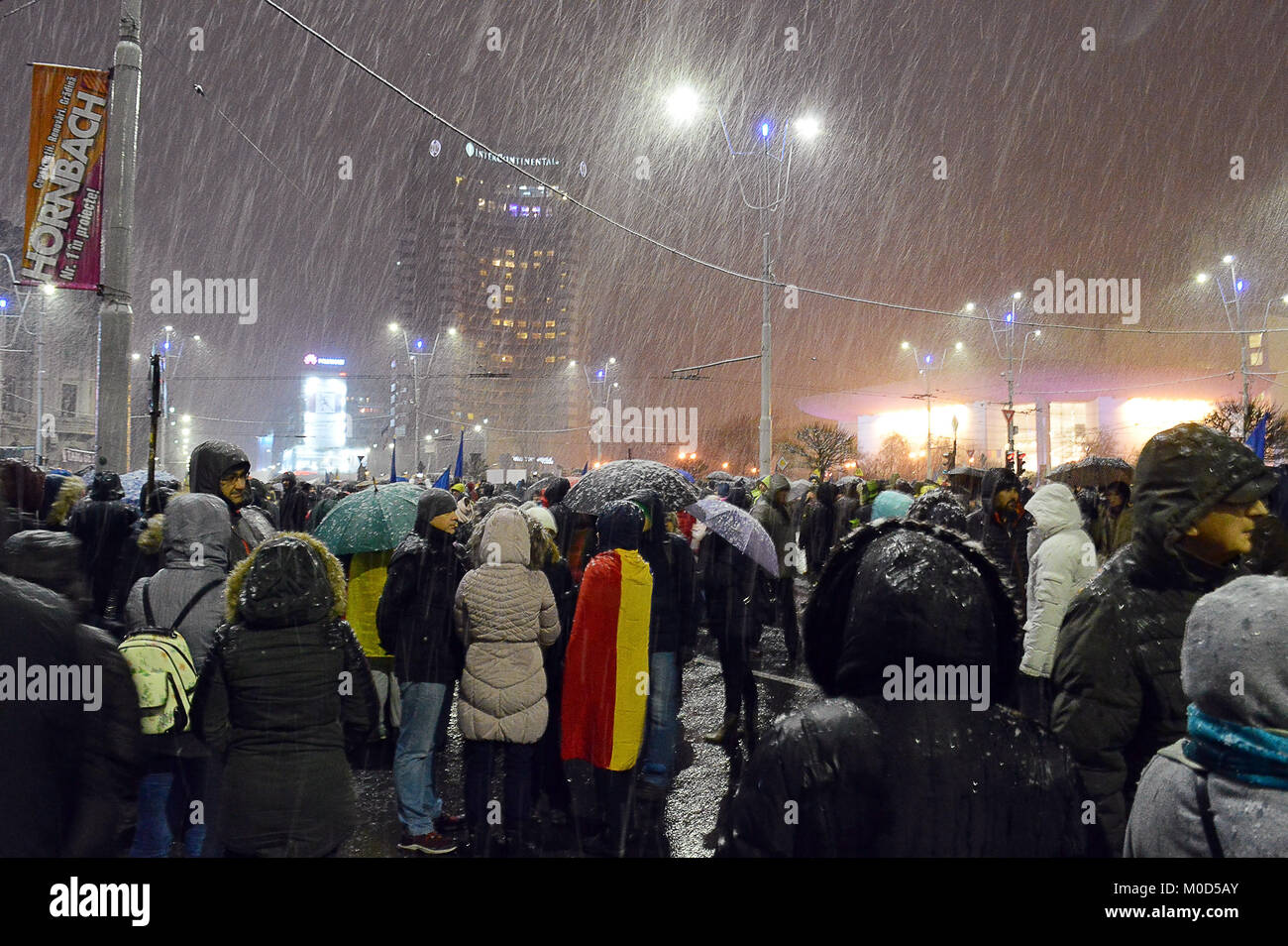 BUCHAREST, ROMANIA - 20 JAN 2018: Crowds gather in University Square protesting government intent to decriminalise - Stock Image