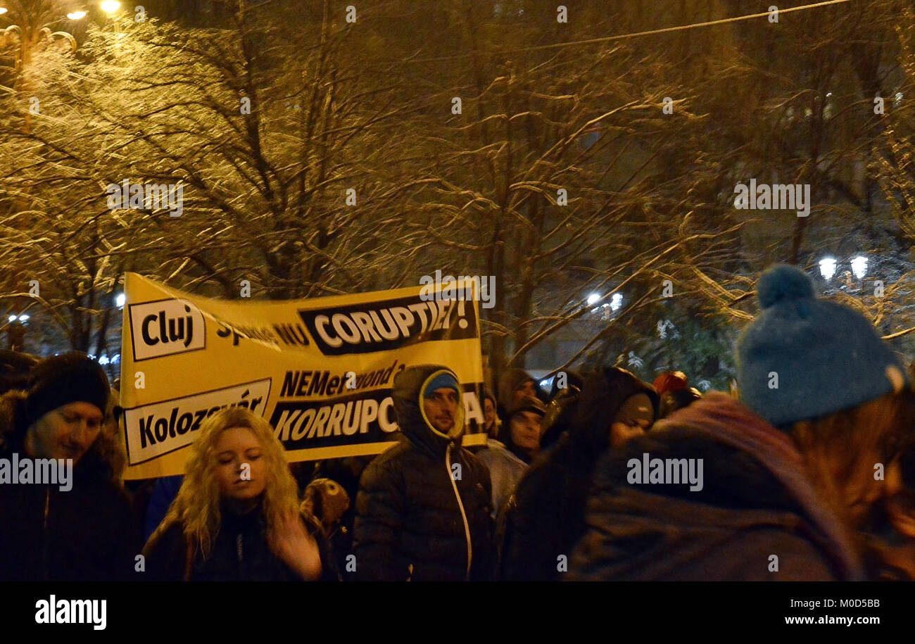 BUCHAREST, ROMANIA - 20 JAN 2018: People came from across Romania to protest against the PSD-ALDE government. This - Stock Image