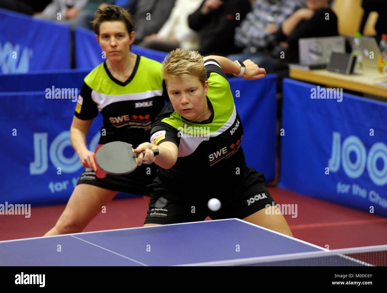 Deutschland. 20th Jan, 2018. Tanja Kraemer und Jessica Goebel (vorne), (TV Busenbach) GES/ Tischtennis/ Bundesliga: Stock Photo