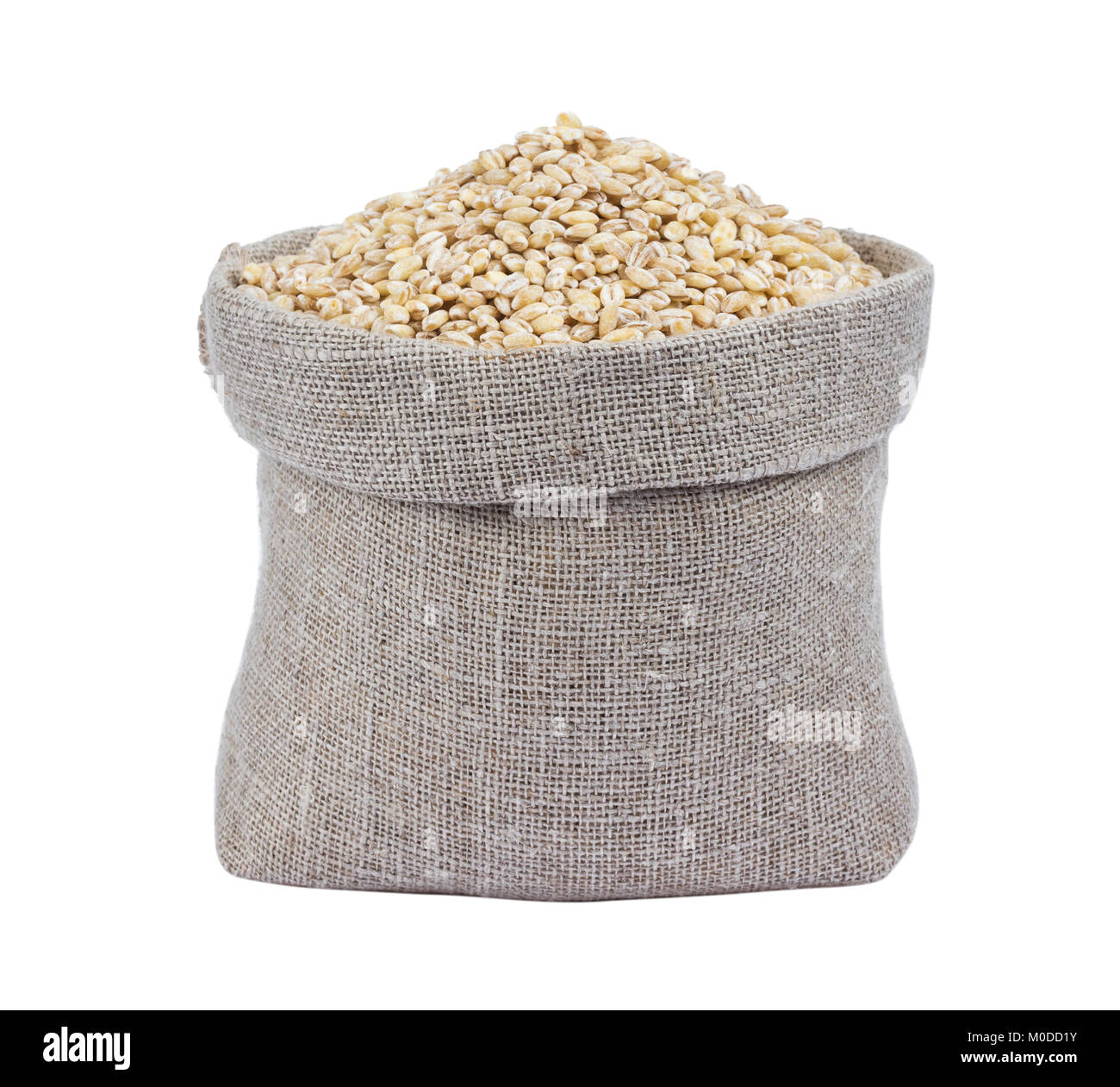 Pearl barley in bag isolated on white background - Stock Image