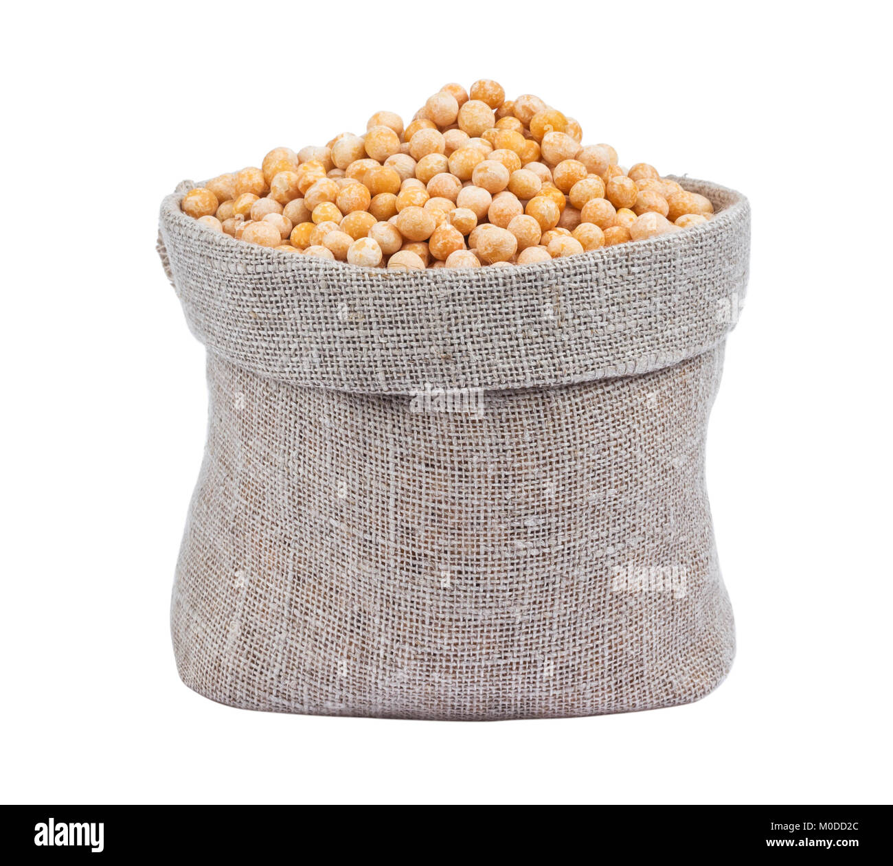 Dried peas in bag isolated on white background - Stock Image
