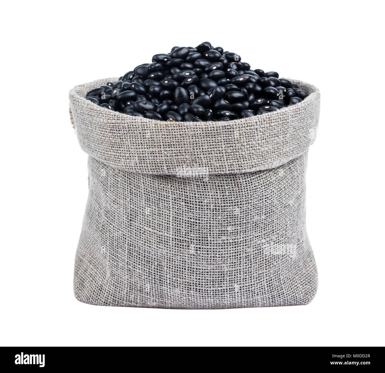 Black beans in bag isolated on white background - Stock Image