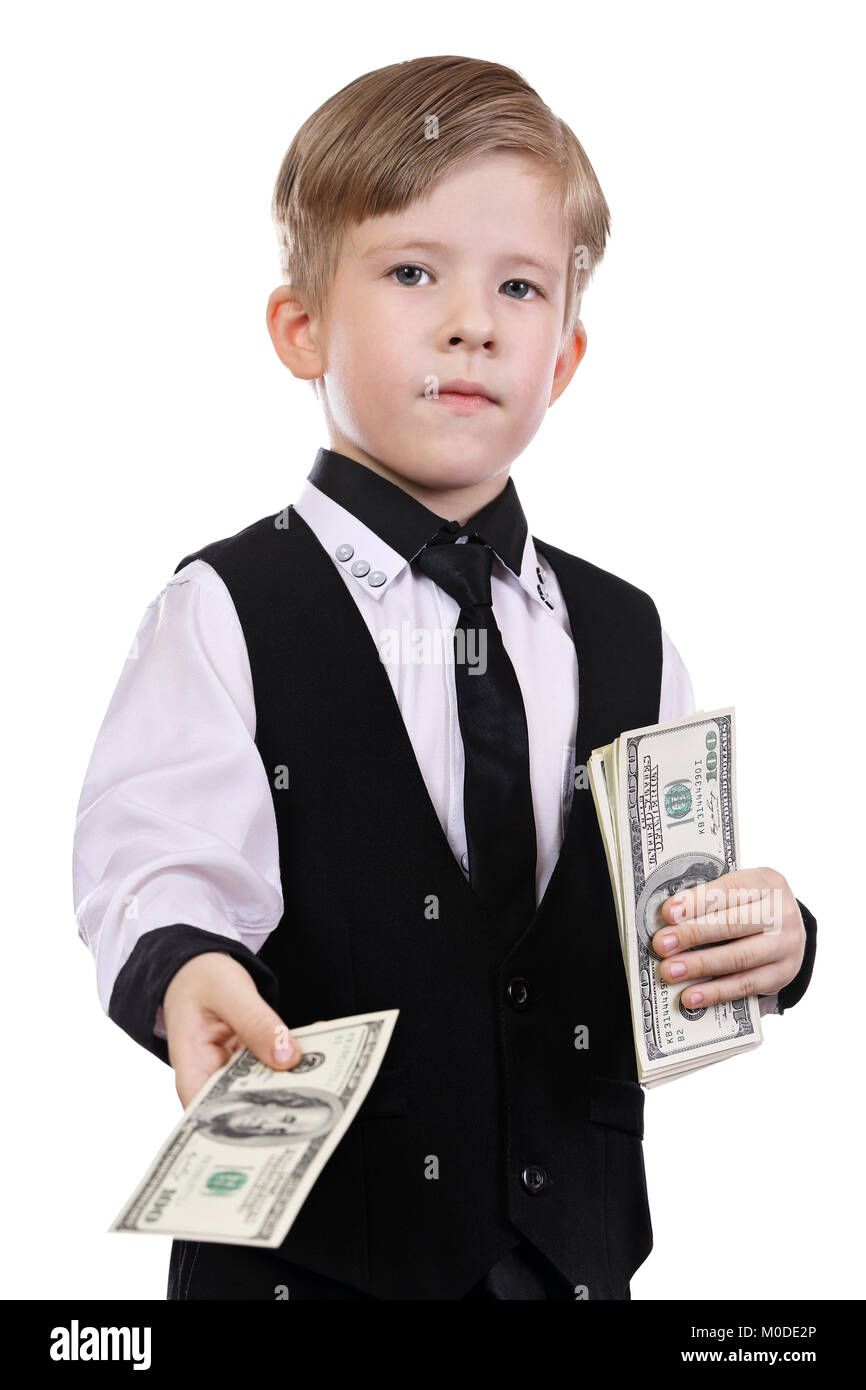 Children playing banker. Independent view of a rich man - Stock Image