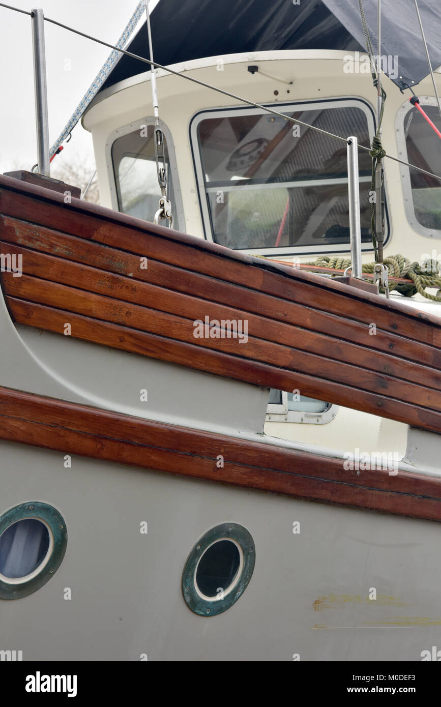 A fisher motor sailer yacht out of the water on the hard for