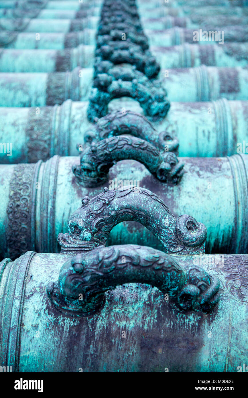 Iron gun tubes in front of the Army Museum - trophies seized from the Danes at Gluckstadt in 1814, Stockholm, Sweden - Stock Image