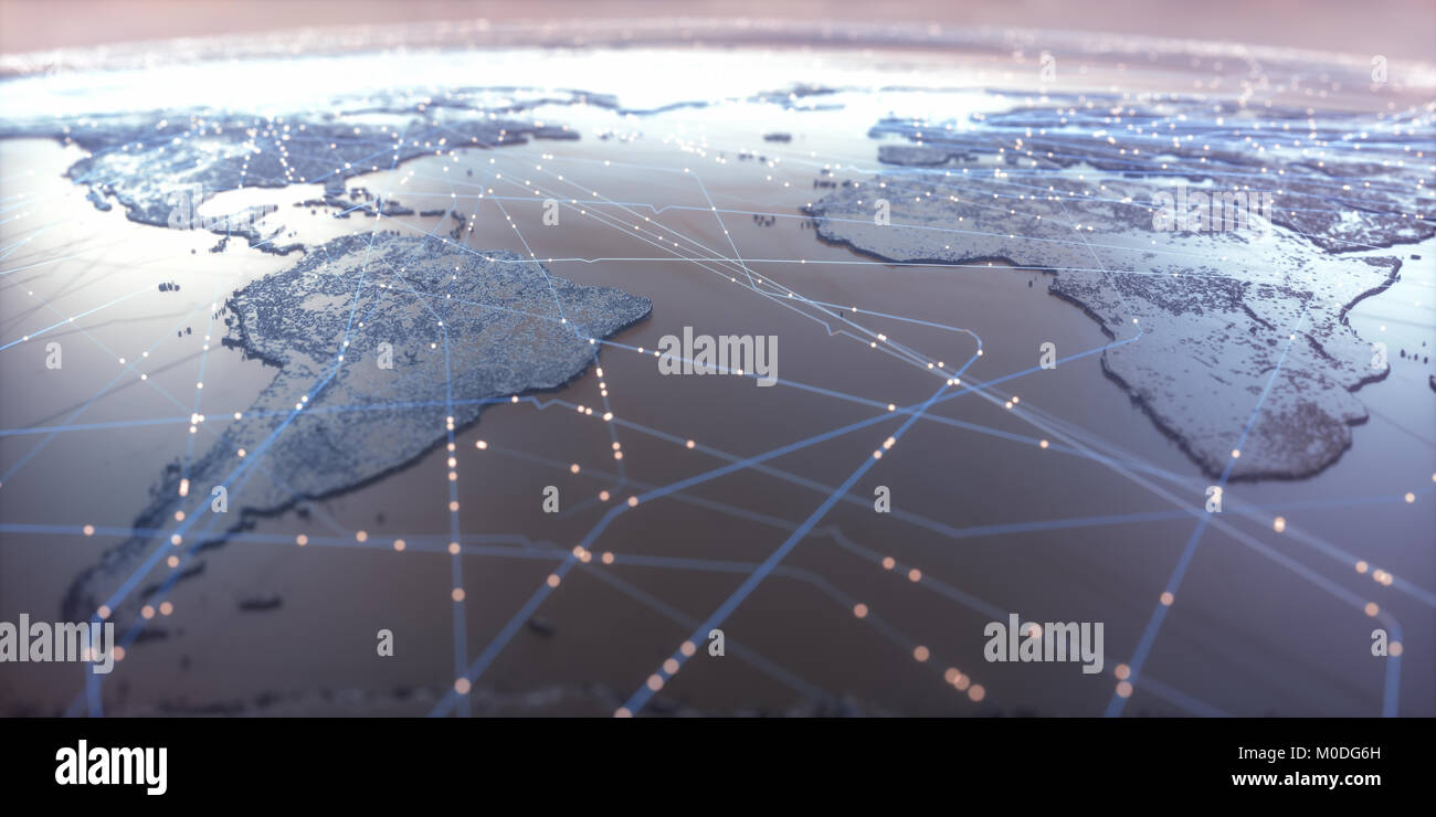 World map with satellite data connections. Connectivity across the world. - Stock Image