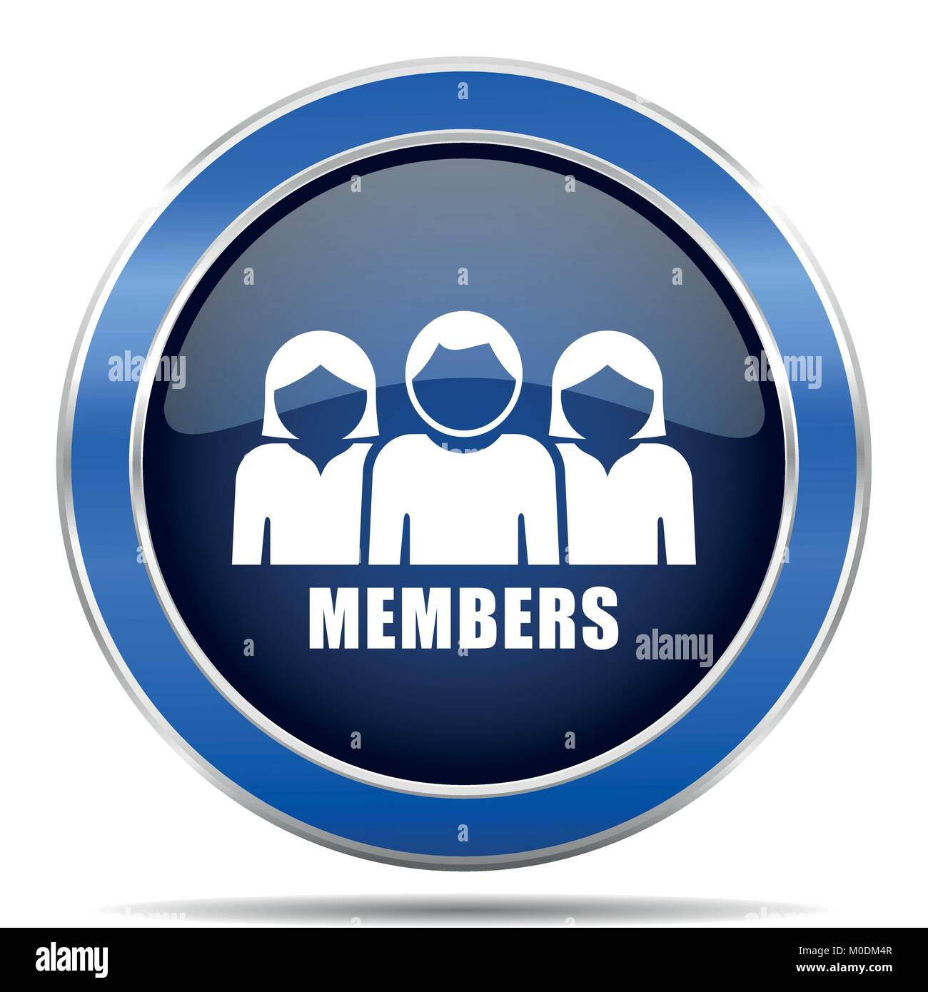 Members vector icon. Modern design blue silver metallic glossy web and mobile applications button in eps 10 - Stock Vector