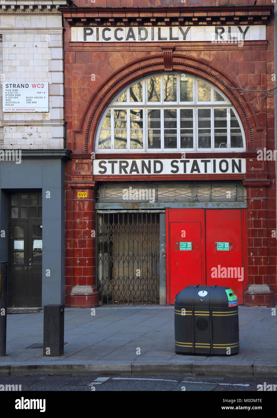 strand station and the piccadilly railway london - Stock Image